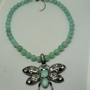 Amazonite beaded necklace with detachable pendant